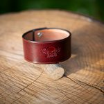Burgunder Leather Bracelet with logo